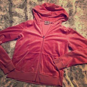 Juicy Couture Pink velour style zip hoodie sz XL!